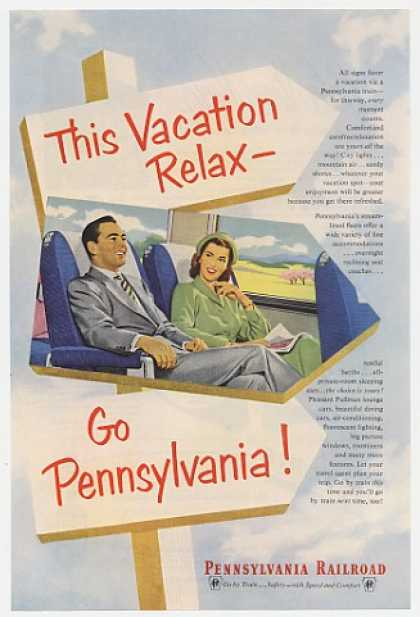 Pennsylvania Railroad Vacation Relax Couple (1952)