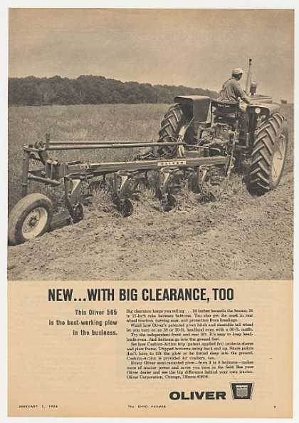Oliver 565 Plow Big Clearance Tractor Photo (1964)