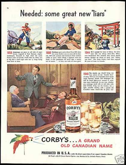 Corby's Whiskey Liars Paul Bunyan Pecos Bill (1948)