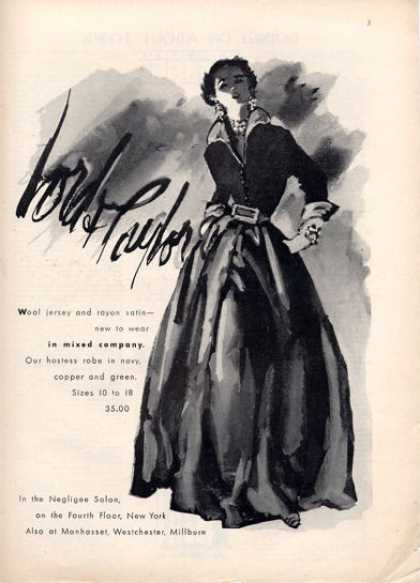 Lord & Taylor Wool Jersey Satin Hostess Robe (1949)