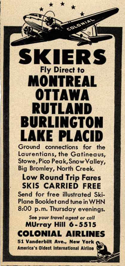 Colonial Airline's various destinations – Skiers (1946)