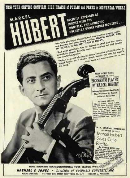 Marcel Hubert Photo Cello Collectible Booking (1944)