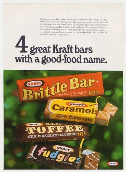 &#8217;68 Kraft Brittle Bar Caramels Almond Toffee Fudgies (1968)