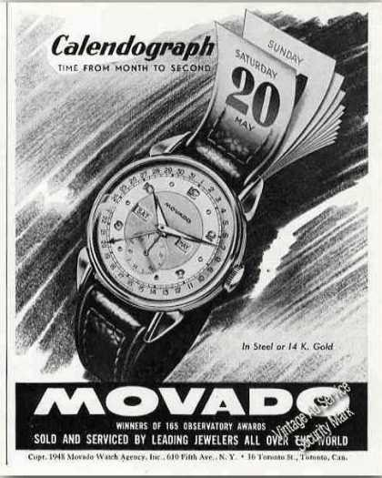 Calendograph Wrist Watch By Movado (1948)