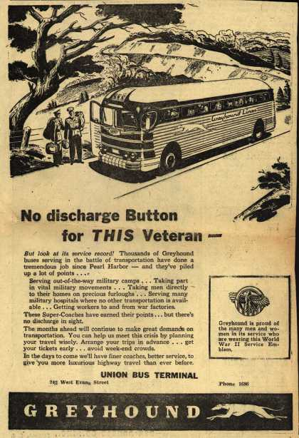 Greyhound – No discharge Button for THIS Veteran- (1945)