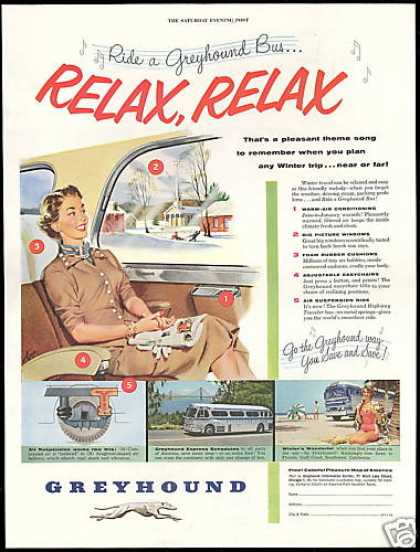 Greyhound Bus Travel Relax Vintage (1954)