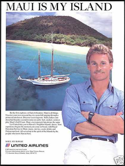 United Airlines Maui Hawaii Coast Sailboat (1986)