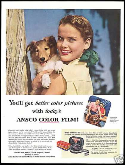 Collie Dog Puppy Pretty Girl Ansco Camera Film (1953)
