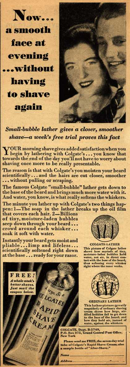 Colgate & Company's Colgate's Rapid-Shave Cream – Now... a smooth face at evening... without having to shave again (1929)
