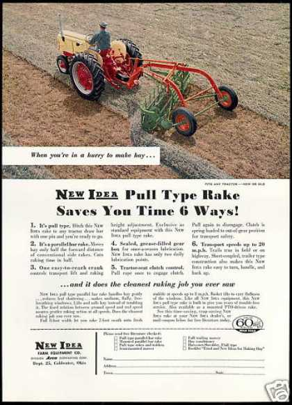 New Idea Farm Tractor Pull Type Rake (1959)