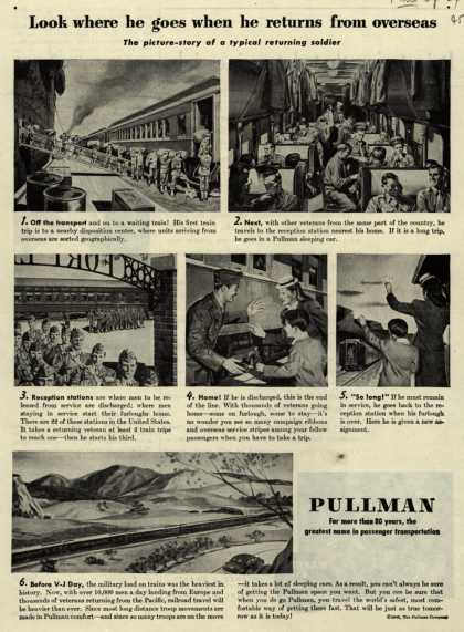 Pullman Company – Look where he goes when he returns from overseas (1945)