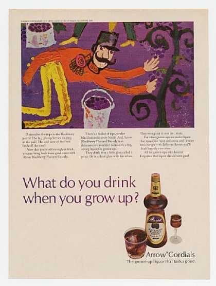 Arrow Cordials Brandy Blackberry Patch art (1968)