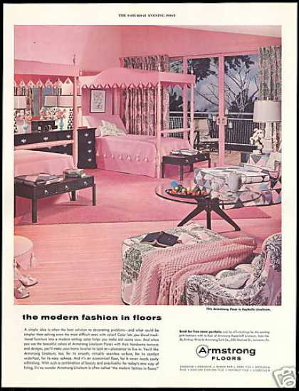 Armstrong Linoleum Floor Pink Bedroom Photo (1955)