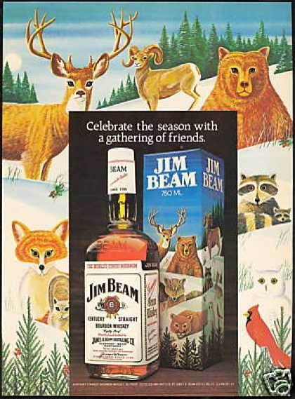Jim Beam Bourbon Whiskey Bear Owl Etc (1980)
