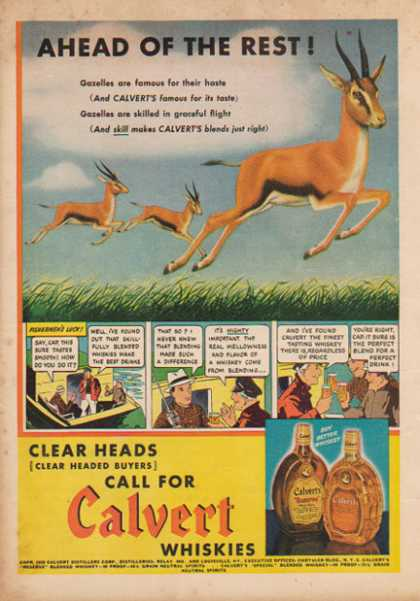 Calvert Whiskies – Gazelles, Fisherman's Luck comic strip (1938)