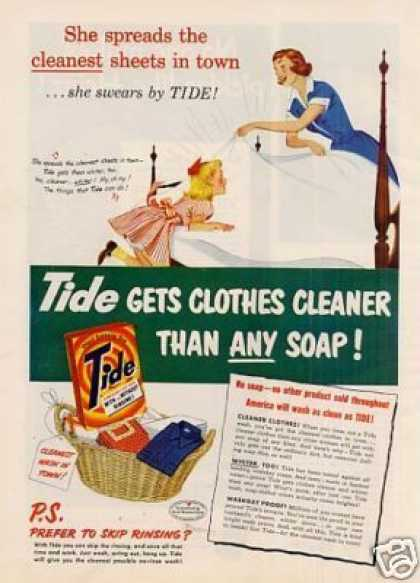 Tide Soap Detergent Ad &quot;She Spreads The... (1951)