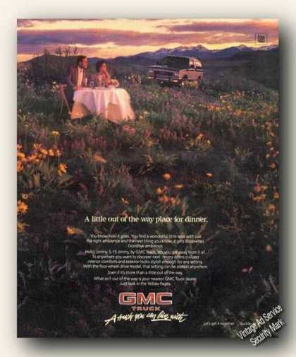 Gmc Truck S-15 Jimmy Couple Dining In Meadow (1986)