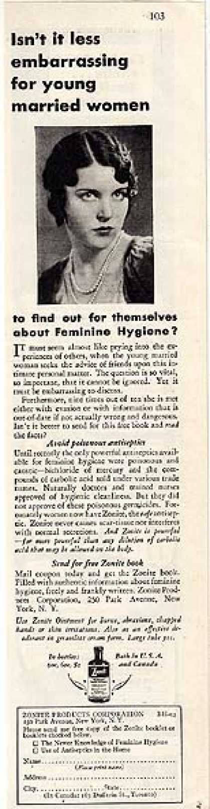 Zonite's safe antiseptic for feminine hygiene (1930)