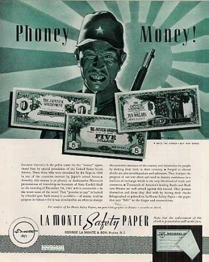 La Monte Safety Paper Ad Invasion Currency (1943)