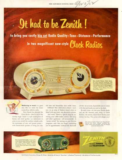 Zenith Radio Corporation's Clock Radio – It had to be Zenith (1952)
