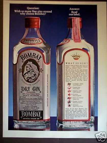 Bombay Dry English Gin Bottle Photo (1978)