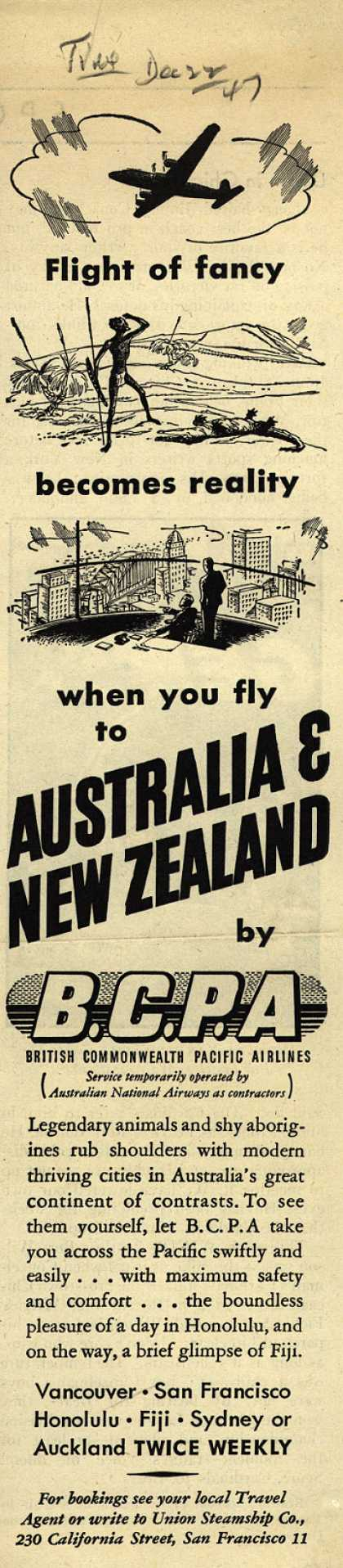 British Commonwealth Pacific Airlines, Limited's Australia and New Zealand – Flight of Fancy Becomes Reality When You Fly to Australia & New Zealand (1947)