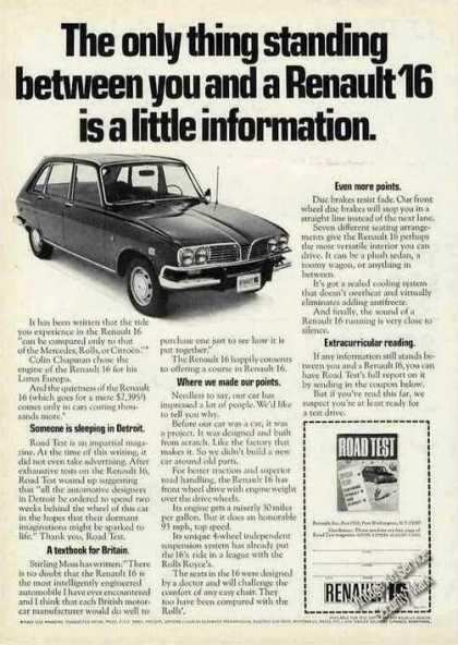 "Renault 16 ""A Little Information"" Car (1970)"