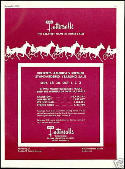 Tattersalls Horse Yearling Sale Lexington KY (1974)