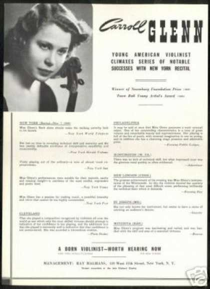 Carroll Glenn Violinist Photo Review Vintage (1940)