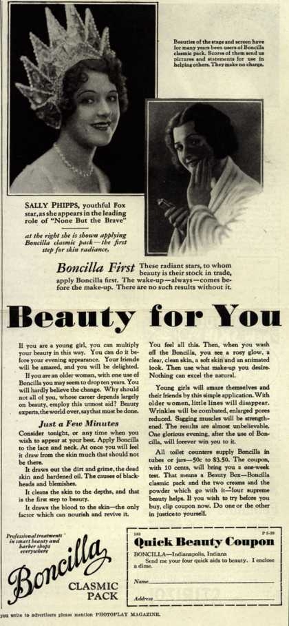 Boncilla Laboratorie's Boncilla Cosmetics – Beauty for You (1929)
