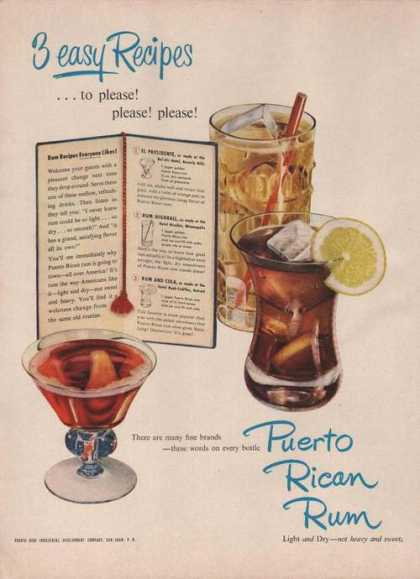 Puerto Rican Rum3 New Recipes (1949)