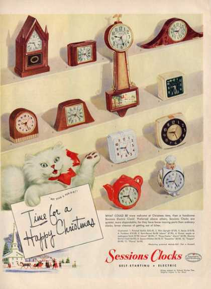 Sessions Clocks Collectble Alarm Cat Ad T (1949)