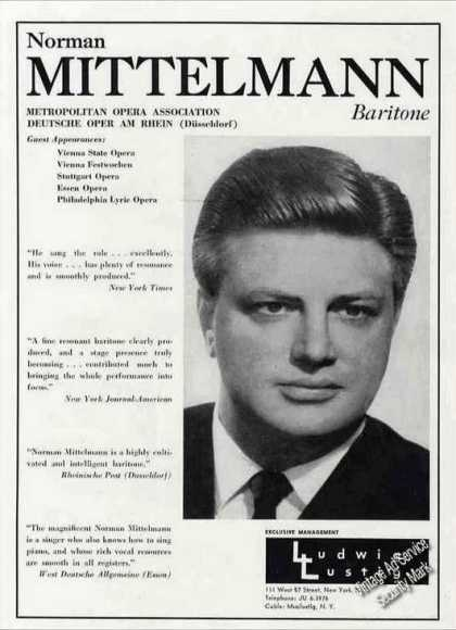 Norman Mittelmann Photo Baritone Opera (1962)