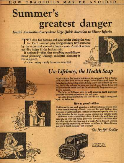 Lever Brothers Company's Lifebuoy Health Soap – Summer's greatest danger (1924)