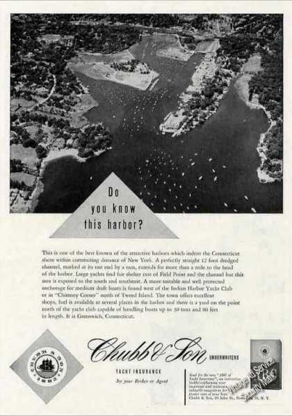 Aerial View Greenwich Ct Harbor Chubb Insurance (1955)