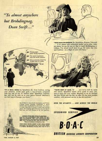 "British Overseas Airways Corporation – "" To Almost Anywhere But Brobdingnag, Dean Swift..."" (1947)"