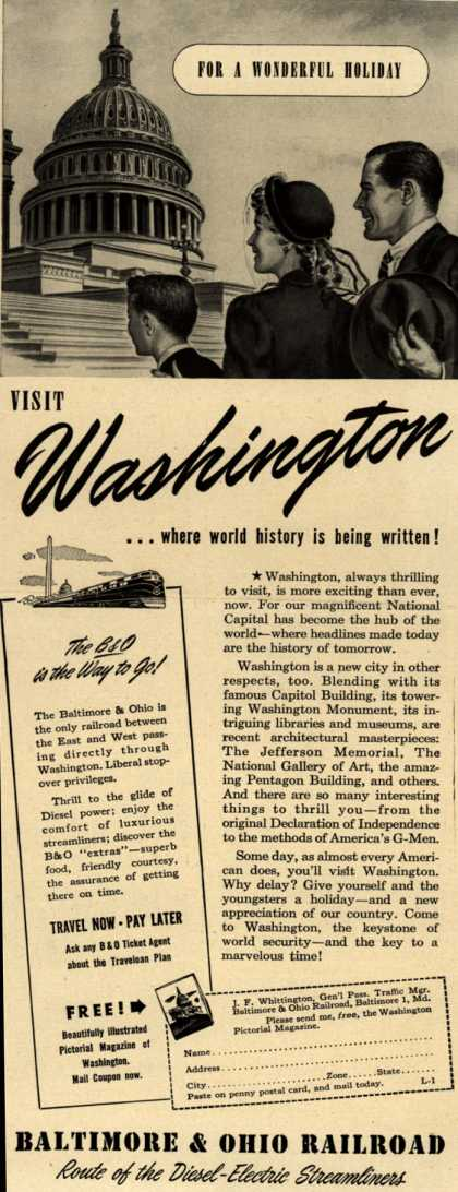 Baltimore & Ohio Railroad's Washington D.C. – VISIT Washington ...where world history is being written (1948)