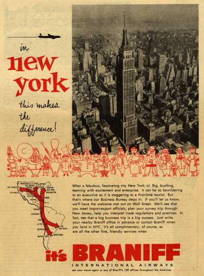 Braniff International Airway's Business Travel – In New York this makes the difference (1953)