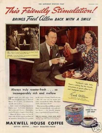 Maxwell House Coffee Ad Fred Allen (1936)