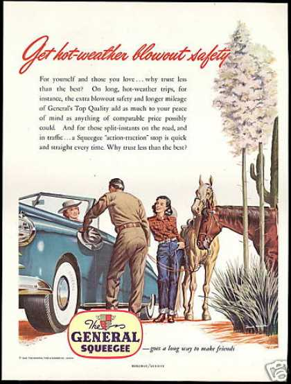 Western Theme Cowboy Horses Cactus General Tire (1948)