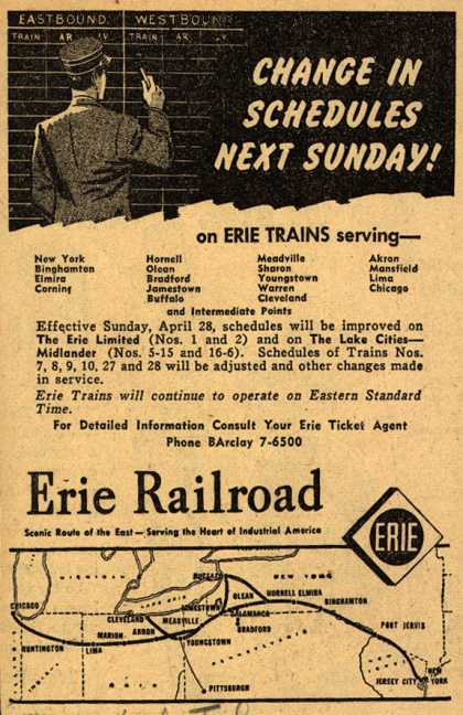 Erie Railroad – CHANGE IN SCHEDULES NEXT SUNDAY (1946)
