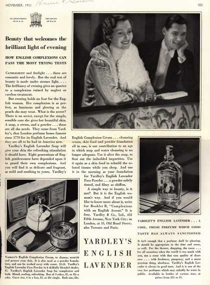 Yardley & Co., Ltd.'s English Lavender Cosmetics – Beauty that welcomes the brilliant light of evening (1931)
