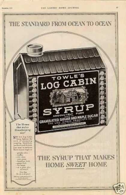 Towle's Log Cabin Syrup (1919)