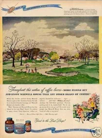 Maxwell House Coffee Ad Adolf Dehn Art (1947)