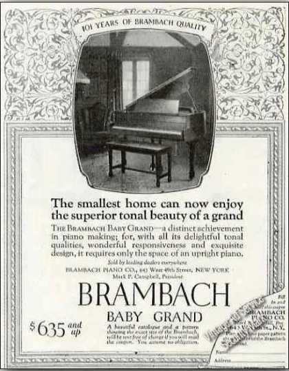 Brambach Baby Grand Piano Photo Antique (1924)