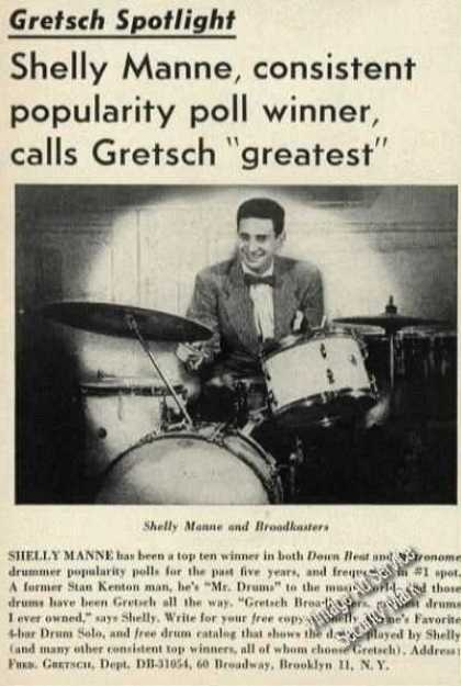 Shelly Manne Photo Rare Gretsch Drums (1954)