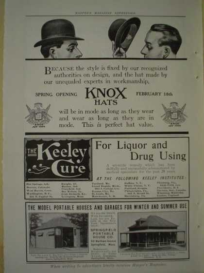 Knox Hats AND The Keeley Cure for liquor and Drug using (1909)