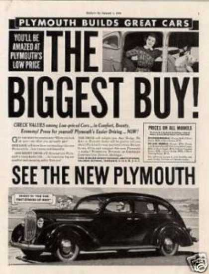 "Plymouth Car Ad ""The Biggest Buy... (1938)"