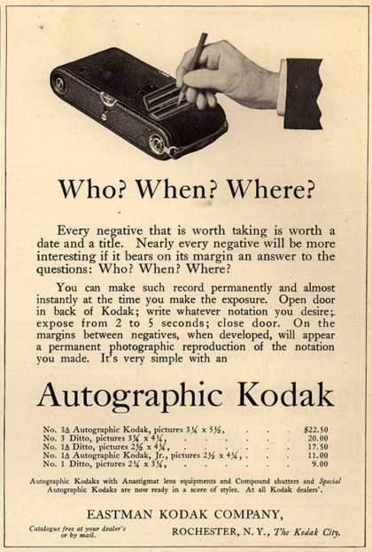 Kodak's Autographic cameras – Who? When? Where? (1915)