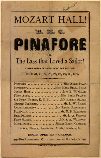 Mozart Hall's opera (comic) – H.M.S. Pinafore (1879)